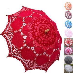 Düğün Dekorasyon Fotoğraf Gelin Gelinlik Umbrella için şık Pamuk Nakış Dantel Şemsiye Açık Yaz Güneş Şemsiye