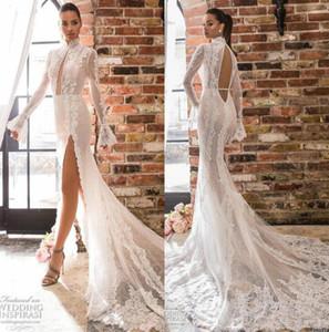 2020 Новый Elihav Sasson Русалка свадебное платье с длинным рукавом высокого шеи Backless шнурка Bridal платья Side щелевая заказ Пляж Свадебные платья