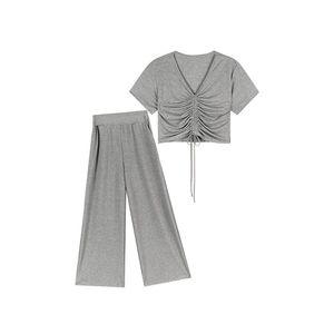 Women Summer Two Piece Sets V-Neck Drawstring T-shirts High Waist Wide leg pants Female Fashion Suit