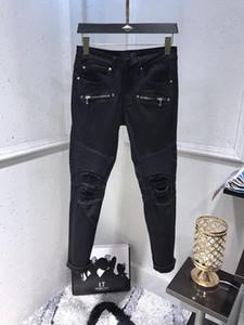 Новый стиль Bal Mens конструктора Slim-ноги джинсы модные рваные штаны джинсы мотоцикл Байкер High Street Biker Top Quality US Размер 29-40