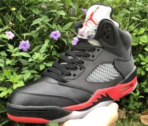 Satin series 5 Bred Black University Red Basketball shoes for man 136027-006 High Quality 5s Satin Mens Athletic Sports Sneakers A14