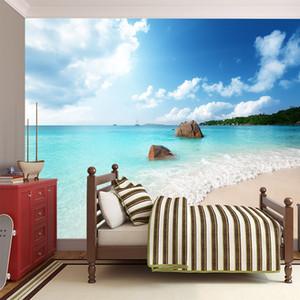 Kalın olmayan dokuma duvar kağıdı 3d büyük duvar stereo Kişilik duvar kağıdı Mediterranean Beach Koltuk Salon TV Arkaplan Duvar dekor