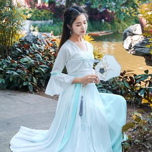 Китайская женщина Элегантный Hanfu национальный танец платье Древний стиль Фея вышивки Этап износа ретро фильм TV Косплей