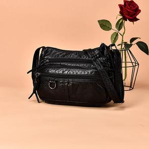 LKEEP Women Small Handbag Pu Leather Crossbody Bag Multipockets Soft Washed Leather Shoulder Bag 2 Colors Messenger