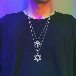 Japanese and Korean Fashion Mens Six-Pointed Star Pendant Necklace Trendy Retro Long Accessories Pendant Cool Fashion Simple Hip Hop