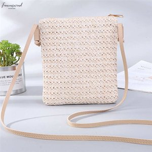 Womens Zipper Small Square Straw Bags Straw Beach Style Crossbody Shoulder Bag Handbag Bucket Bag
