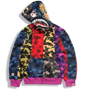 Camo Shark Kapuzenjacke für Herren Rreflective Lose Zipper-Jacke Windjacke Männer Frauen Hoodie-Jacke