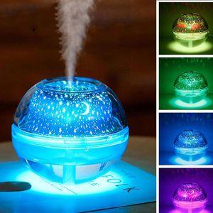 BRELONG Colorido USB Cristal Humidificador Lámpara de proyección Luz nocturna Dormitorio interior Pareja Ambiente Luz Oro / Plata