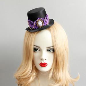أسود fascinator مع حجر الراين الأرجواني التاج الذهبي سلسلة هالوين الحزب fascinator القبعات cospaly التصوير المرحلة الأداء الملحقات