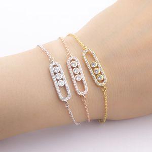 Bracelet en or rose géométrie Trid Bracelet diamant en acier inoxydable Boutons de manchettes Bracelet Bijoux de mariage