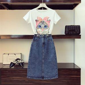 Women Fashion Sequined Cat Cotton Tshirts + Jeans Clothing 2 Piece Set Girls Cartoon Pattern Top Tee Pocket Denim Skirt Suits