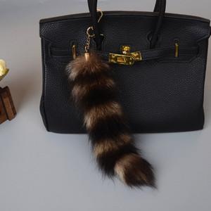 Genuíno real cauda Fox Americal Raccoon Fur chave Keychain Bolsa CharmTassel Cosplay Ferramenta Car Chaveiro Pingente dom anel de jóias