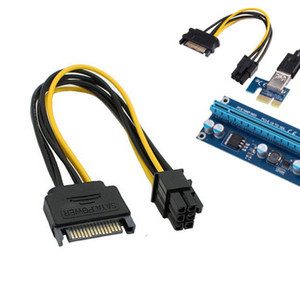 Dual SATA 15 Pin Male to PCI-E 6 Pin Female Video Card Power Adapter Cable CA L Pet Room