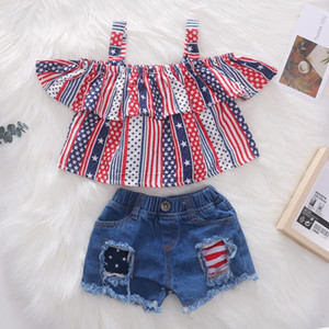 Summer baby girl kids clothes sling star striped top+Jeans Denim short pants 2pcs sets Kids Designer Clothes Girls
