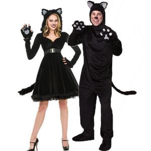 Девушка Костюм Женщины Платье Мужчины Костюмы Черный Милый Кот Хэллоуин Рождество Кошка