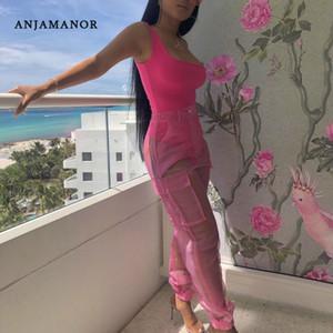 ANJAMANOR sexy insieme a due pezzi Body Top e maglie pantaloni Neon Pink Verde Estate 2 Club Piece Outfits coordinati D59-AB72