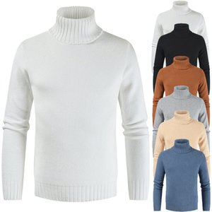 Helisopus New Men Sweater Autumn Winer Fashion Long Sleeve Slim Fit Mens Pullover Sweaters Turtleneck Casual Solid Color Tops