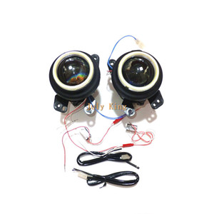July King Car Bifocal Lens Fog Lamp Assembly + LED Angel Eye Rings DRL Case for Dodge Charger Jeep Wrangler Chrysler Fiat Freemont etc.