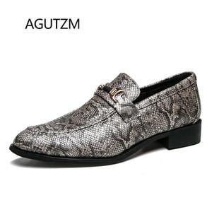 Stil Kare Topuk Erkek Deri Casual Ayakkabı On AGUTZM 2289 Yeni Moda Yılan Derisi Desen Sivri Burun Kayma