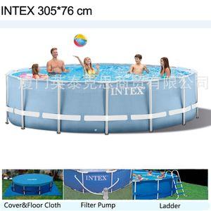 INTEX 305 * 76 cm Yuvarlak Çerçeve Yerüstü Havuzu Seti 2019 modeli Pond Aile Yüzme Havuzu Filtre Pumpf Kapak zemin kumaş merdiven