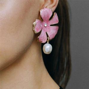 2019 büyük çiçek earings büyük deyimi moda takı Aretes küpe Kadınlar kabuk yaz için SexeMara çiçek küpe