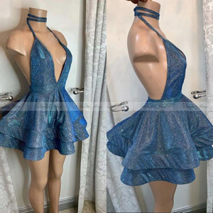 Sparkly Party Bleu Sequin court Homecoming robes sexy col en V profond Halter Backless africaine Robes de bal Robes Graduation