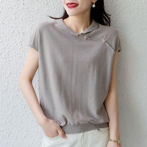 Summer y manga corta solapa 20 nueva ropa de algodón media manga colorknitted sólido superior suelta superior y algodón de lino de linenwomen