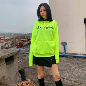 Fluorescent Green Pullover Women Hoodies Letter Print Womens Designer Hoodies Fashion Cool Girls Tops