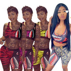 Le donne Ethika Swimwear estate Bra Vest + Shorts Due pezzi Pantaloni Set Patchwork Shark Camo costume da bagno Swim Trunk Tuta Bikini Gifts