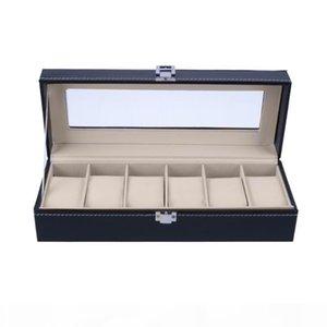 6 Slots Wrist Watch Case Box Jewelry Storage Box with Cover Case Jewelry Showcase Watches Display Holder Organizer