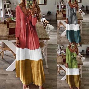 Böhmisches Kleid Herbst lange Hülsen-beiläufige Kleid-Frauen Designer V-Ausschnitt, Bohemian Kleider Womens Designer Bekleidung