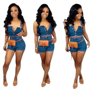 2019 Frauen Blue Jeans Anzug beiläufige Denim Outfit Overall-Spielanzug 2-teiliges Set Blue Top + Super Shorts Frauen-Denim-Knopf