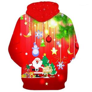 Noel Kapüşonlular Tasarımcı Merry Christmas Kapşonlu Kazaklar Tişörtü Harajuku Mens 3D Sonbahar