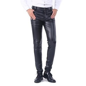 2020 New Men`s Business Slim Fit Five Pockets Stretchy Comfy Black Solid Faux Leather Pants Jeans Trousers For Men