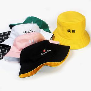 Wannen-Hüte Frauen Brief gestickte Beidseitige Fischer-Hut-koreanische Art Massiv Klettern im Freien Sun-Hauses entsprechend All-Gleiches Chic