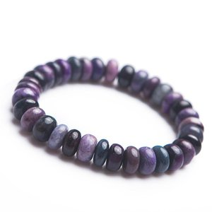Genuine Purple Natural Sugilite Gemstone Bracelets For Women Men Crystal Marquise Abacus Stretch Natural Sugilite Bracelet