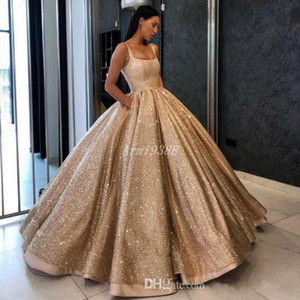 Luxury Gold Sequin Ball Gown Quinceanera Dresses Long Teen Girls Princess Sweet 16 Dresses Formal Party Prom Gowns With Pockets