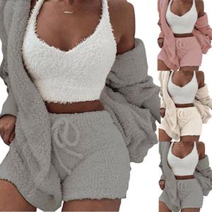 Les femmes hiver chaud Ensembles Fluffy pyjamas Cardigan manches longues en peluche manteau à capuchon + Shorts Ensemble de nuit Homewear 2PCS