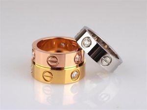 DropShipping Titanyum Çelik Gümüş Gül Altın Aşk Yüzük Altın Yüzük Severler Çift Yüzük Alyans için