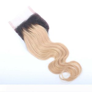 A Brazilian hair ombre lace closure Body wave 3 part #1b 27 2 Tone ombre color lace closure with baby hair