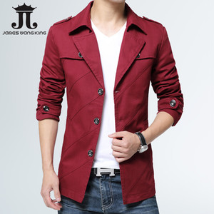 2019  Mens Business Stand Collar Trench Coat Solid Color Slim Fit Casual Overcoat Washed Cotton Jacket for Men -4XL