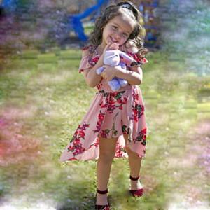 꽃 유아 어린이 아기 소녀 스트랩 해적 의상 Romper 점프 슈트 여자 끄기 어깨 공주 여름 Rompers 의류 Sundress