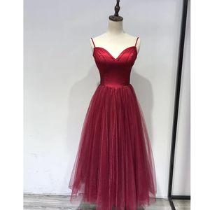 Borgonha Prom Dresses Tea Length vestido Homecoming 2019 Spaghetti Straps Beaded Tulle Mulheres Partido Vestidos Vestidos Cocktail Formal
