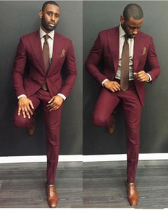 2019 Classic Burgundy Wedding Mens Suits Slim Fit Bridegroom Tuxedos For Men Two Piece Groomsmen Suit Cheap Formal Business Jackets And Pant