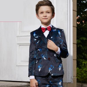 5 Pieces Children's Dresse suits Boys Gentlemen's Suit jacket English Vermicelli Printed blazers big child size 110-160