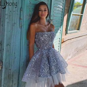 Sparkly Sequin Tulle A-Line Backbloble Hi-Lo Homecoming Платье для домохозяйства Короткое платье на день рождения Без без бретелек Мини-выпускные платья Коктейль износа