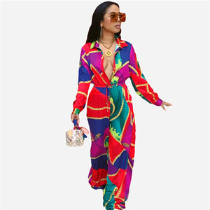 Spring Womens Chain Printed Jumpsuits Fashion Designer Ladies Contrast Color Rompers Casual Holidays Long Sleeve Rompers