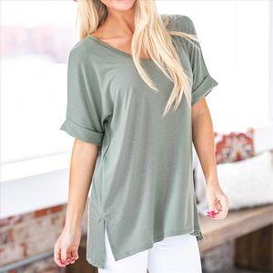 2019 Xinbao manchon bascule occasionnel col V 2019 Xinbao T-shirt T-shirt décontracté col V manchon flip
