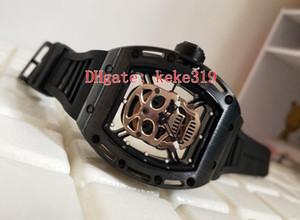Мода черный циферблат керамическая оболочка череп RM 52-01 натуральный каучук плюс минеральное закаленное стекло 43 мм прозрачный автоматический механические мужские часы