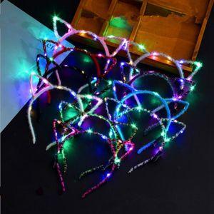 LED Light Up oreilles animaux Cat Bandeau Femmes Filles Couvre-chef clignotant Accessoires cheveux Concert Party Glow Fournitures Halloween Noël cadeau RRA2073